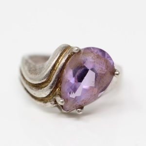 Jewelry - VINTAGE Sterling Pear-Cut Amethyst Ring 6.75